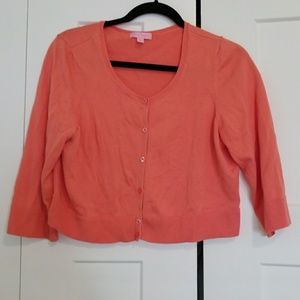 Lilly Pulitzer Coral Cropped Cardigan
